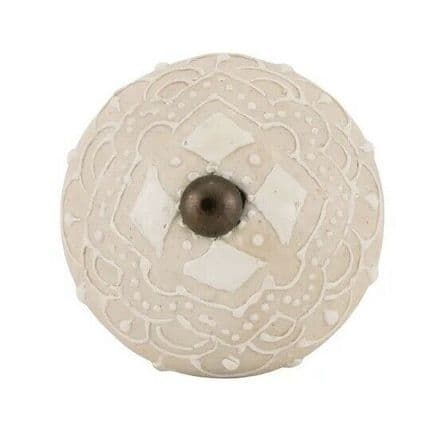 Ceramic Cupboard Door Knob / Drawer Pull - Matt  Cream / White /Brass.